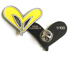 "Free Humanity ""FH Signature Style (Yellow)"" - 1.5"" Enamel Pin, Limited Edition of 100"