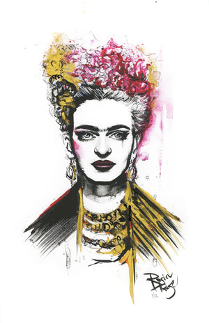 "Therése Rosier ""Frida Kahlo"" - Hand-Embellished Unique Variant, Edition of 12 - 11 x 17"""