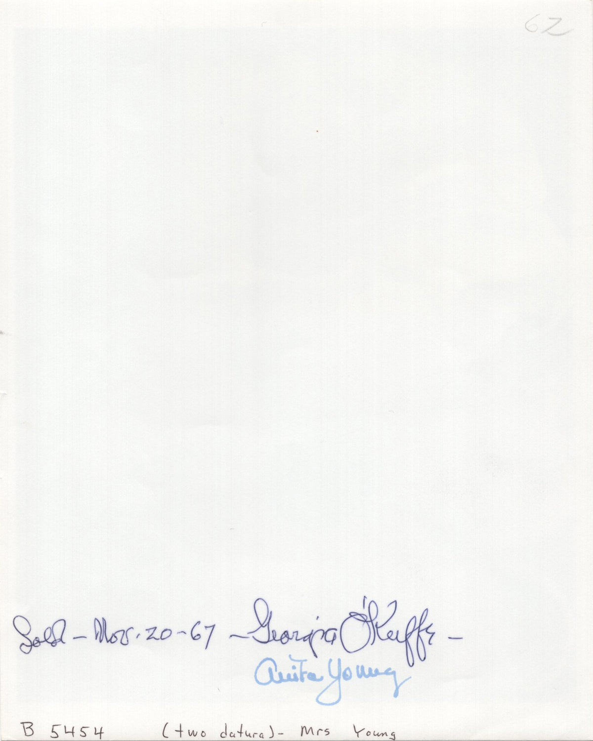 "Georgia O'Keeffe - ""To Datura"" - Signed 8x10 Photograph, 1967"