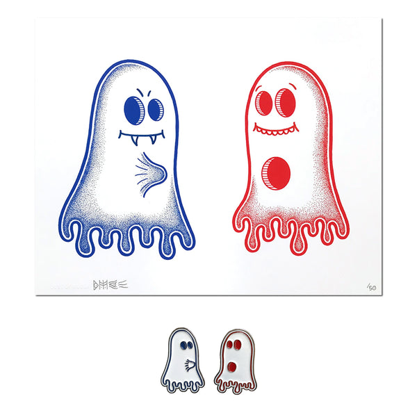 "Bonethrower ""Ghost Boner"" - Embellished Print & 2 x Pin Set, Edition of 50 - 8 x 10"""