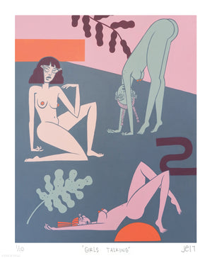 """Girls Talking"" by Jillian Evelyn - Limited Edition, Archival Print - 14 x 17"""