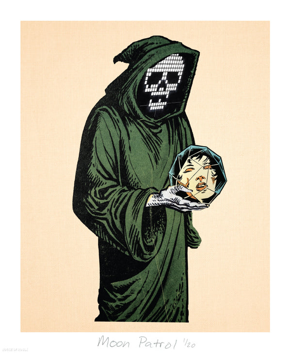 """Green Wizard"" by Moon Patrol - Limited Edition, Archival Print - 14 x 17"""