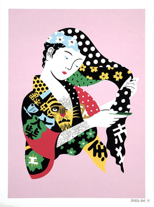 """Pop Geisha"" by Brolga - Hand-Embellished Unique Print, #3/3 - 18 x 24"
