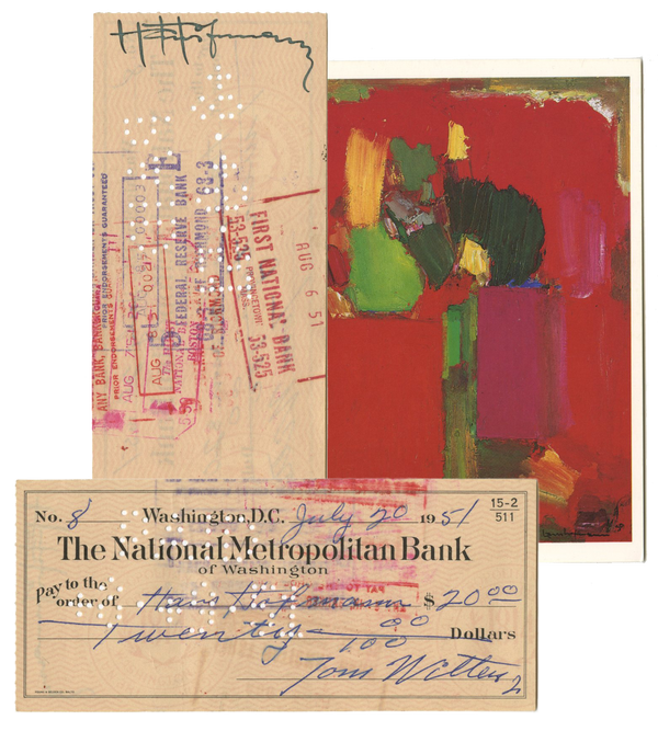 Hans Hoffman - Hand-Endorsed Bank Check - 1951