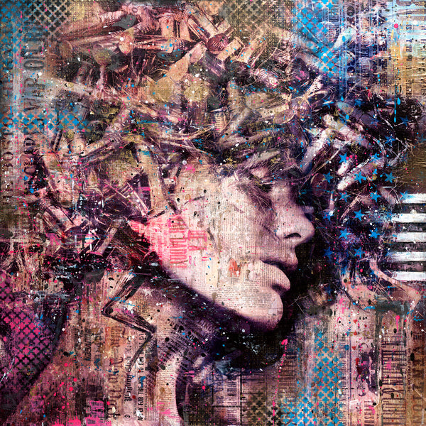 """She II"" by Markus Sebastiano - Original Mixed Media Work - 32 x 32 x 1.5"""