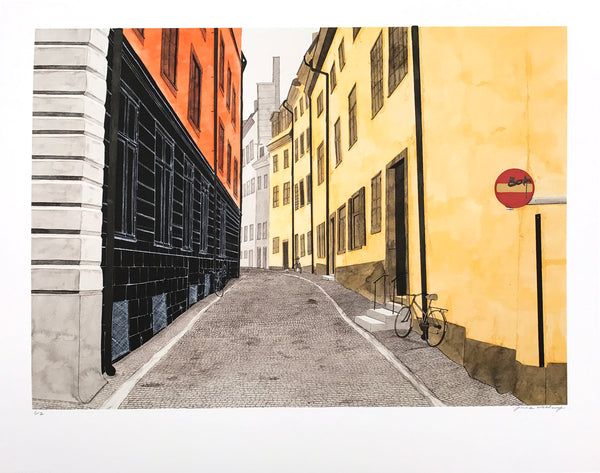 """Gamla Stan"" by James McClung - Hand-Embellished Unique Print - 14 x 17"""