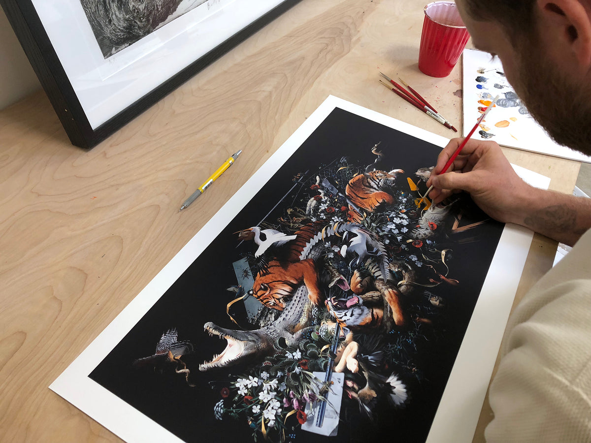 "Jake Messing ""Beasts and Beauty"" - Hand-Embellished Variant, #1/3 - 15 x 24"""