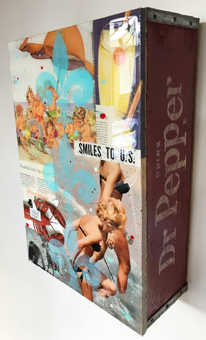 """Smiles to U.S."" by John Joseph Hanright - Ephemera, Oil, Resin on Vintage Bottle Crate - 18 x 12 x 5"""