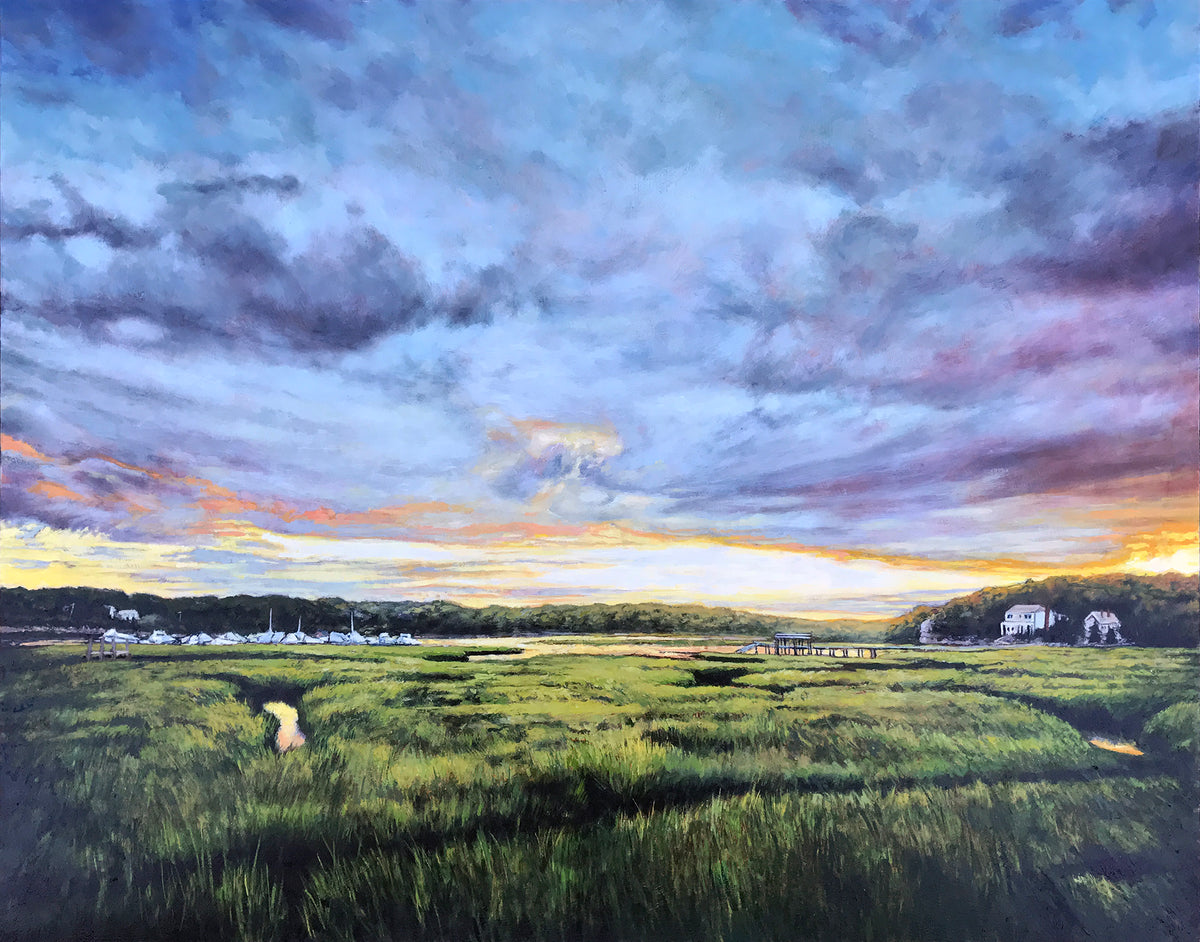 "Andrew Houle ""Gloucester Marina Marsh"" - Original Oil Painting on Wood - 24 x 30"""