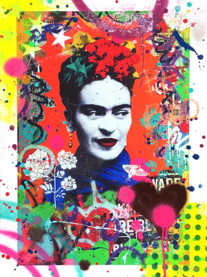 """Secret Garden (Frida Kahlo)"" by Indie 184 - Hand-Embellished Unique Print, #2/2 - 18 x 24"""