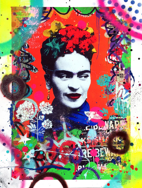 """Secret Garden (Frida Kahlo)"" by Indie 184 - Hand-Embellished Unique Print, #1/2 - 18 x 24"""