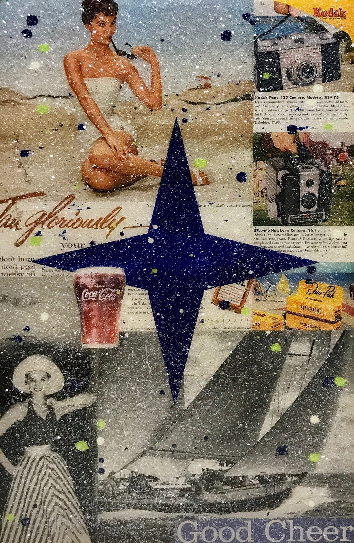 "John Joseph Hanright ""Good Cheer"" - Ephemera, Oil, Diamond Dust, Resin on Vintage Bottle Crate - 18 x 12 x 5"""