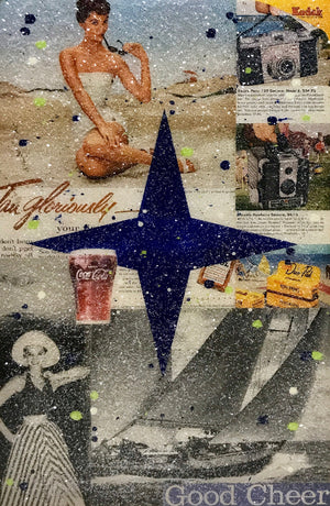 """Good Cheer"" by John Joseph Hanright - Ephemera, Oil, Diamond Dust, Resin on Vintage Bottle Crate - 18 x 12 x 5"""