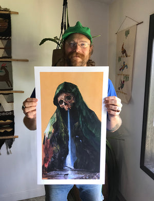 "Adam Burke ""Maria Lupum"" - Hand-Embellished Variant, Edition of 3 - 14 x 24"""