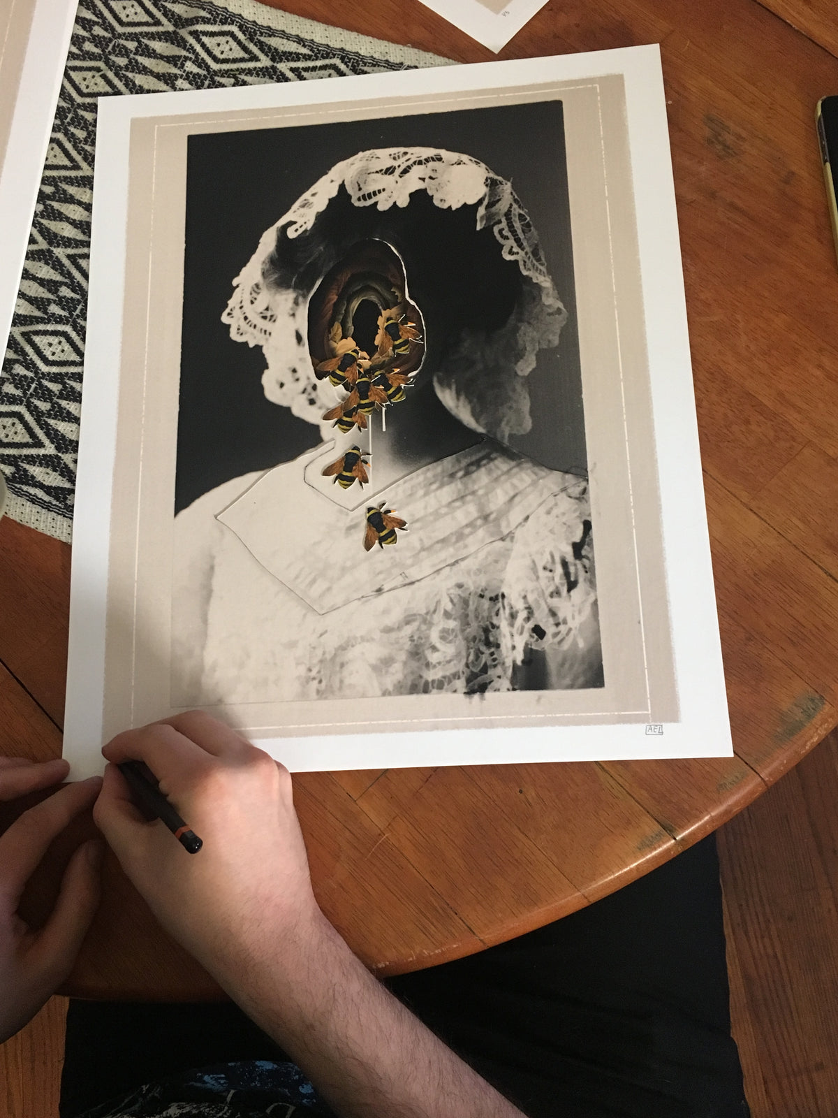 "Alex Eckman-Lawn ""Ghost"" - Hand-Embellished Unique Variant, #2/5 - 14 x 17"""