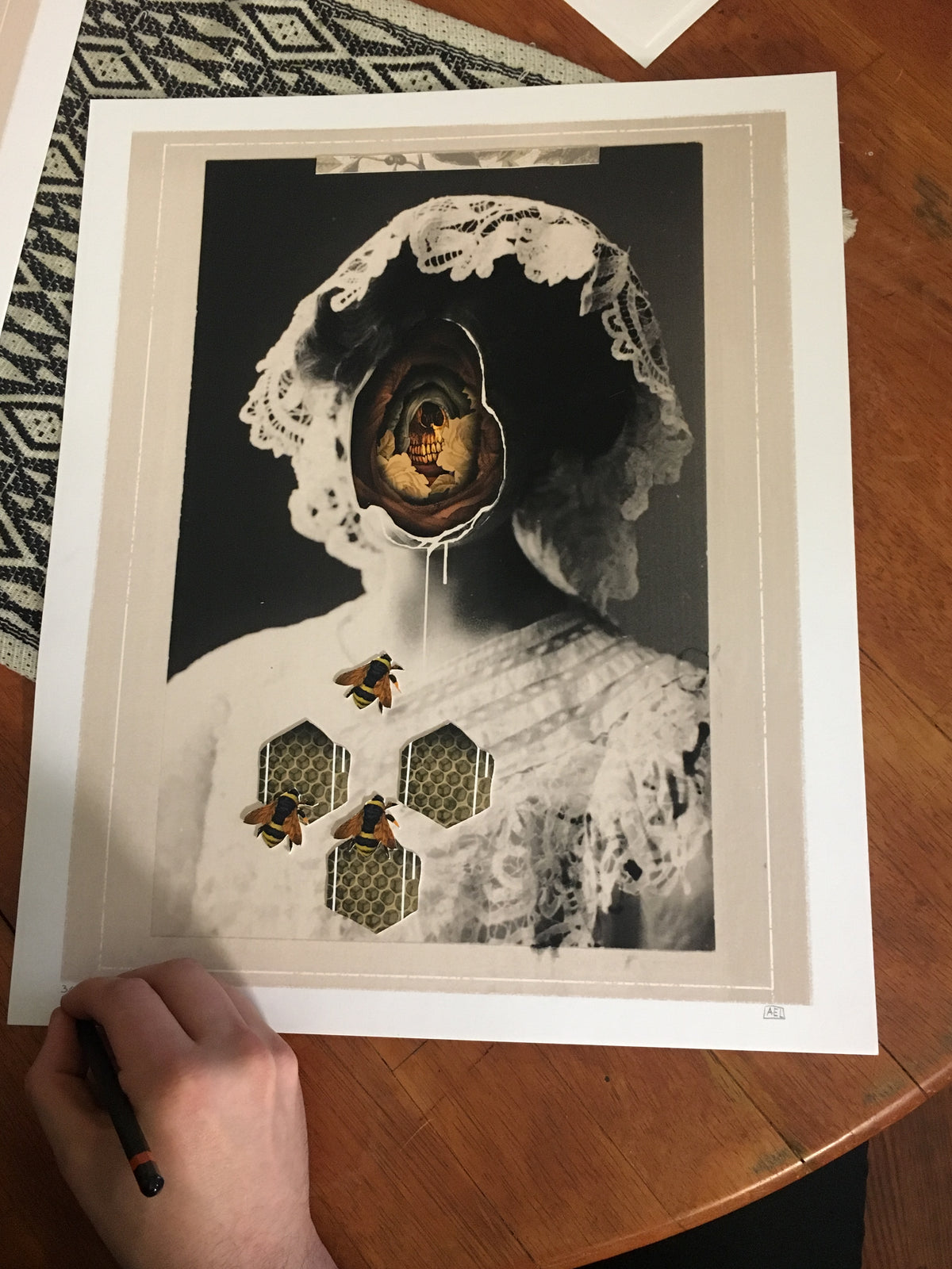 "Alex Eckman-Lawn ""Ghost"" - Hand-Embellished Unique Variant, #3/5 - 14 x 17"""