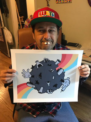 """Rainbow Brawlers"" by Jeff Meadows - Archival Print, Limited Edition of 10 - 14 x 17"""