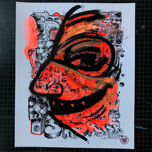 """One Rhyme"" by BlusterOne - Hand-Embellished Unique Print, #3/15 - 14 x 17"""