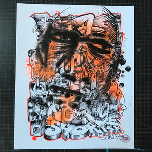 """One Rhyme"" by BlusterOne - Hand-Embellished Unique Print, #4/15 - 14 x 17"""