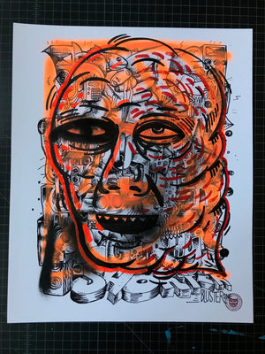 """One Rhyme"" by BlusterOne - Hand-Embellished Unique Print, #5/15 - 14 x 17"""