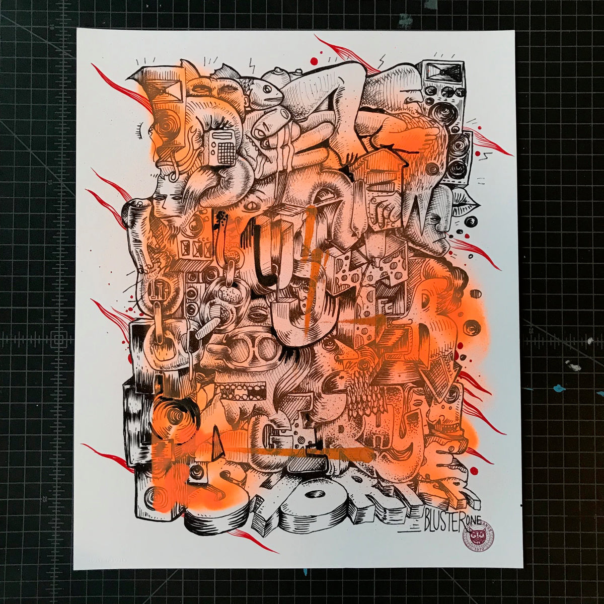 "BlusterOne ""One Rhyme"" - Hand-Embellished Unique Print, #8/15 - 14 x 17"""