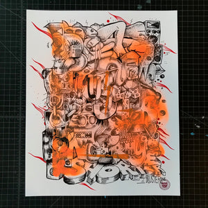 """One Rhyme"" by BlusterOne - Hand-Embellished Unique Print, #8/15 - 14 x 17"""
