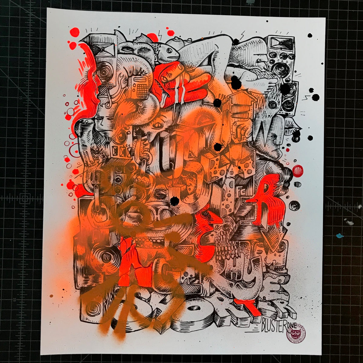 "BlusterOne ""One Rhyme"" - Hand-Embellished Unique Print, #9/15 - 14 x 17"""