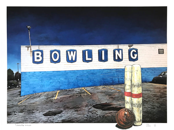 "Andrew Houle ""Bowling"" - Hand-Embellished Unique Edition, 1/1 - 18 x 24"""