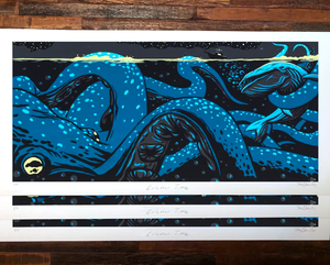 "The Draculas ""Calamari Time"" - Hand-Embellished Unique Variant, Edition of 3 - 12 x 24"""