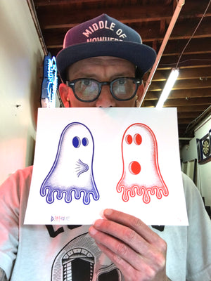 "Bonethrower ""Ghost Boner"" - Standard Print & 2 x Pin Set, Edition of 50 - 8 x 10"""