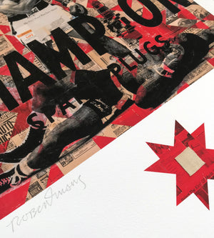 "Robert Mars ""Be Killer"" - Archival Print with Authentic Muhammad Ali Swatch, Edition of 25 - 18 x 24"""