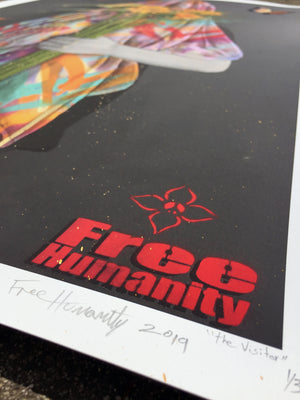 "Free Humanity ""The Visitor"" - Deluxe Abstracted Variant, 1 of 3 - 24 x 36"""