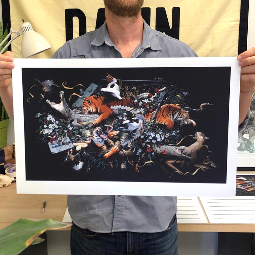 "Jake Messing ""Beasts and Beauty"" - Hand-Embellished Variant, #3/3 - 15 x 24"""