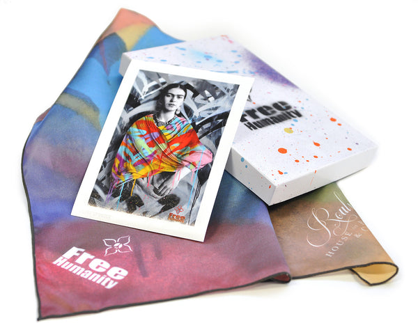 """FRIDA KAHLO"" BY FREE HUMANITY - SILK SHAWL WITH PRINT - HAND-EMBELLISHED BOX SET"