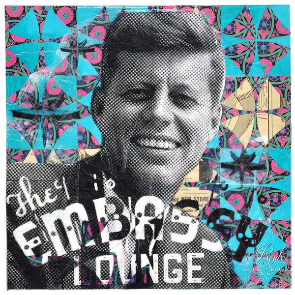 """JFK's Embassy Lounge"" by Robert Mars - Original Mixed Media and Resin on Canvas"