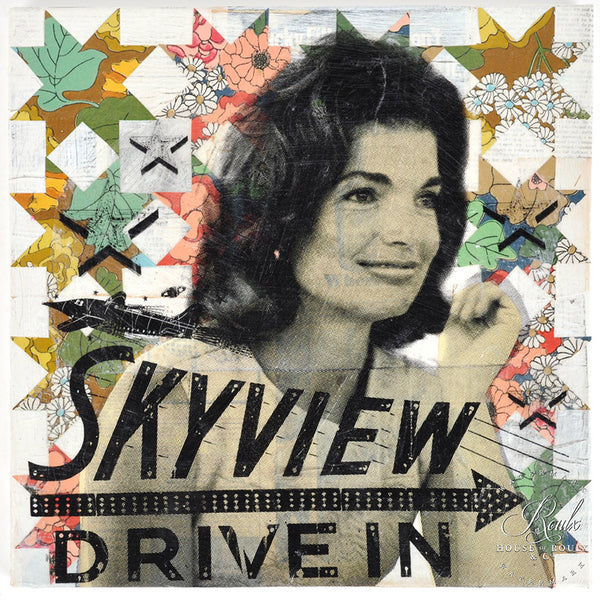 """Jackie's Skyview Drive In"" by Robert Mars - Original Mixed Media and Resin on Canvas"