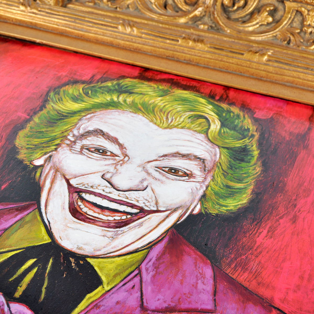 "Andrew Houle ""The Joker - Cesar Romero"" - Original Oil Painting on Wood in Frame"