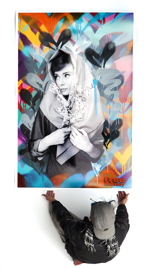 """Hepburn's Humanity"" by Free Humanity - Hand-Embellished Unique 1/1 - 44 x 66"""