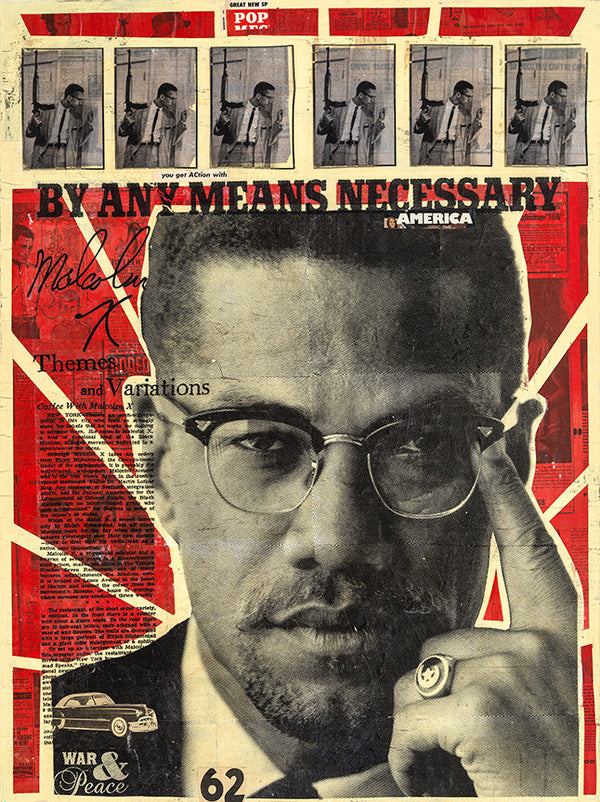 """By Any Means Necessary"" - Malcolm X by Robert Mars - Original Mixed Media and Resin on Wood"