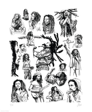 "Mariah Fox ""Bob Marley Redemption 75 Drawings"" - Archival Print, Limited Edition of 25 - 14 x 17"""