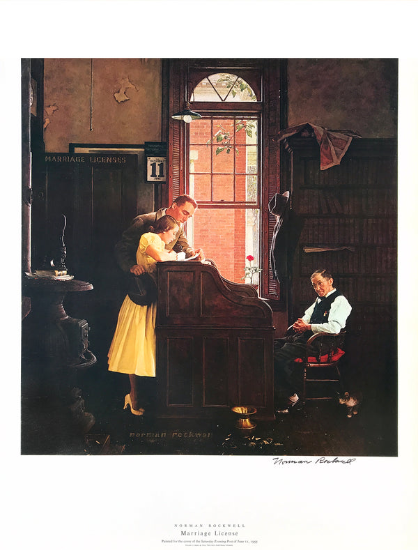 "Norman Rockwell - ""Marriage License"" - Signed Offset Print - 19 x 25"""