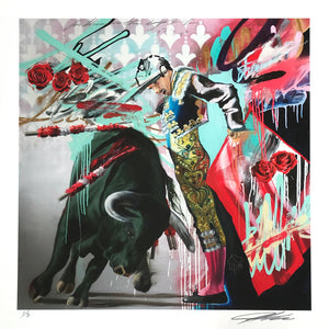 """The Matador"" by Jeremiah Kille - Hand-Embellished Unique Variant, Limited Edition of 3 - 17 x 17"""