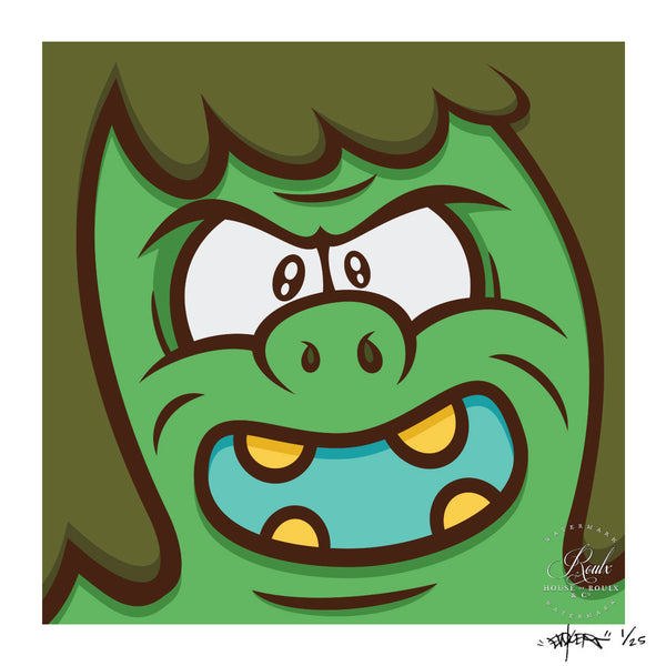 """Angry Green Man"" by Evoker - Limited Edition, Archival Print"