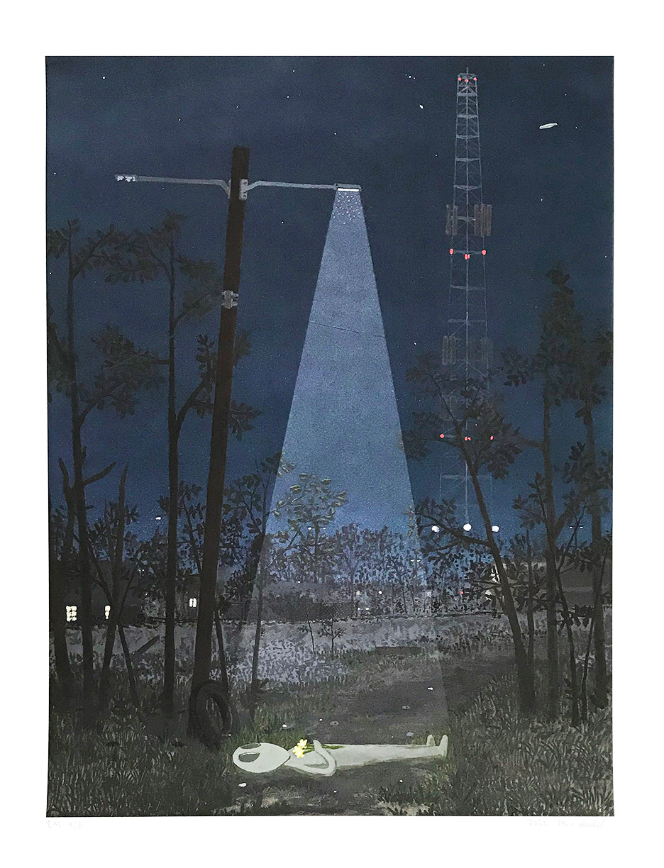 "Max Seckel ""Walking at Night"" - Hand-Embellished Variant, #4/5 - 13 x 17"""