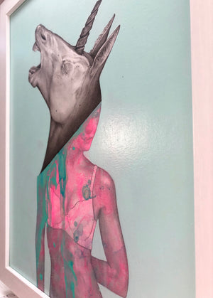 "Matt Byle ""Unicorn"" - Original Painting, Framed - 15.5 x 12.5 x .5"""