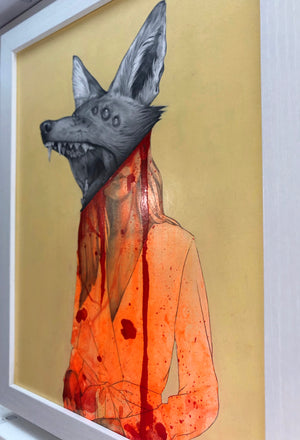 "Matt Byle ""Foxy"" - Original Painting, Framed - 15.5 x 12.5 x .5"""