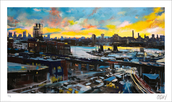 "Adam J. O'Day ""Pulaski Bridge at Sunset"" - Archival Print, Limited Edition of 12 - 14 x 24"""