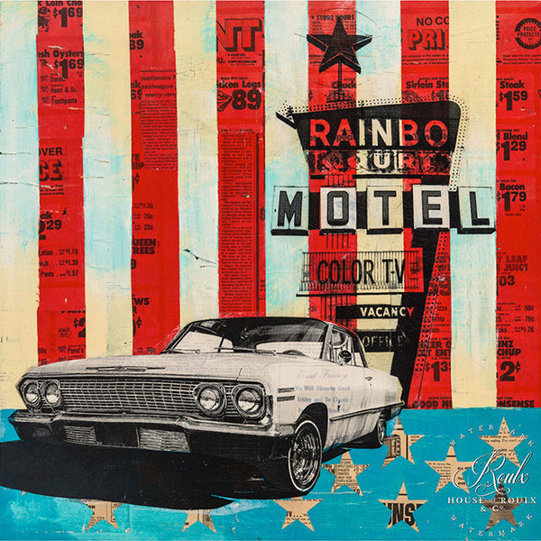 """Rainbo Motel"" by Robert Mars - Original Mixed Media and Resin on Wood"