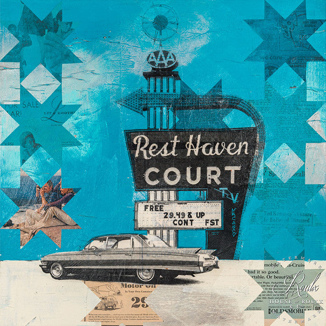 "Robert Mars ""Rest Haven Court"" - Original Mixed Media and Resin on Wood"