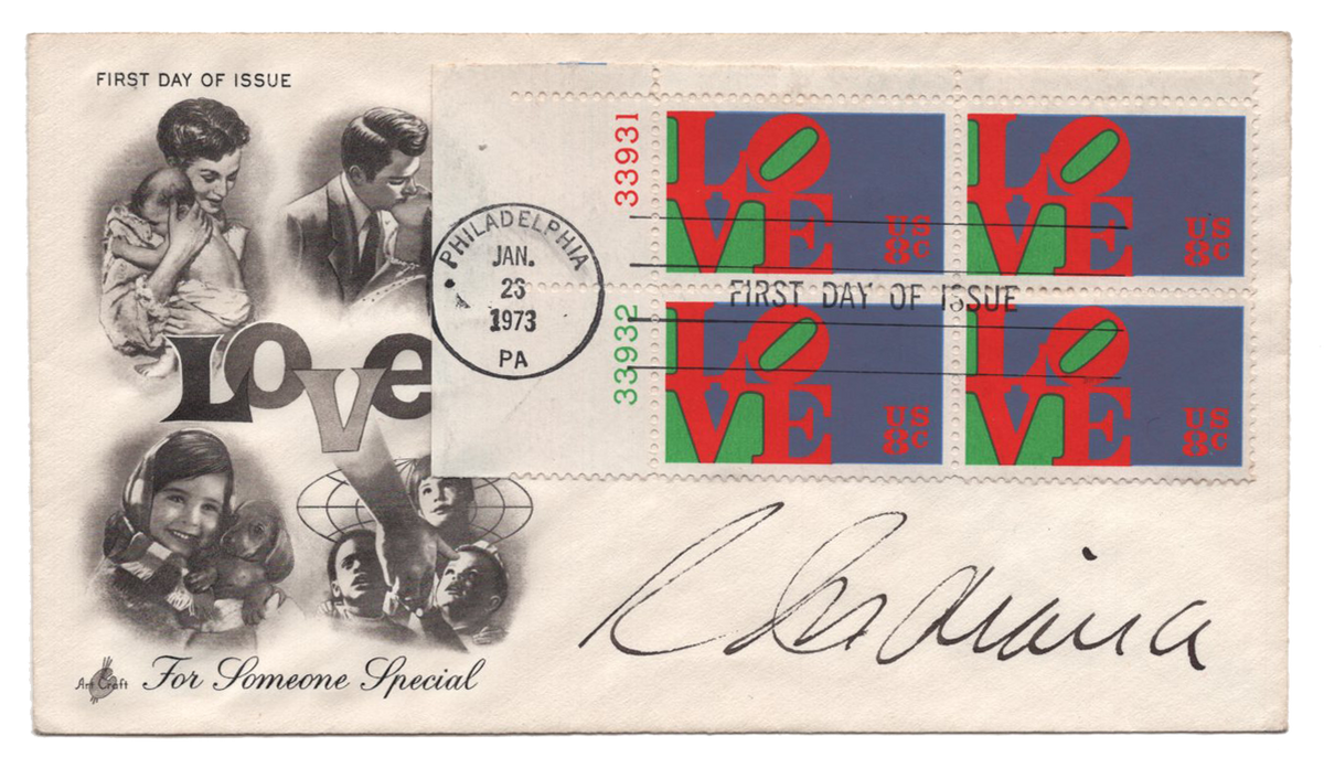Robert Indiana - Signed First Day Cover - 1973